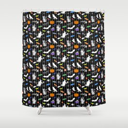 Halloween Fun - Charcoal Stripes Shower Curtain