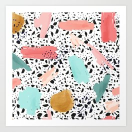 Coral Mint Gold Abstract Art Pattern with Terrazzo Stone Background Art Print