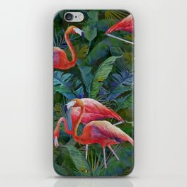 tropical pattern with flamingos iPhone Skin