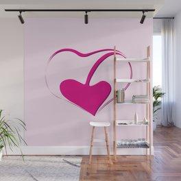 Love - heart shape in pink Wall Mural