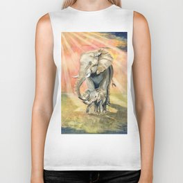 Mom and Baby Elephant Biker Tank