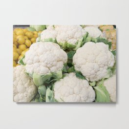 Raw cauliflower pattern in supermarket Metal Print