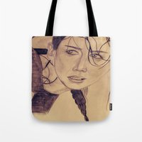 katniss Tote Bags featuring Katniss Everdeen by KOverbee