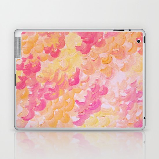 PINK PLUMES - Soft Pastel Wispy Pretty Peach Melon Clouds Strawberry Pink Abstract Acrylic Painting  Laptop & iPad Skin