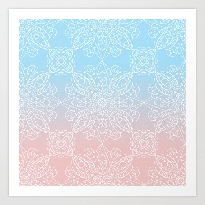 Pastel Dreams Mandala on Blue and Pink Linen Art Print