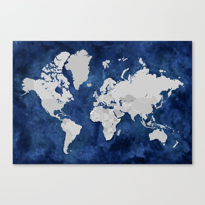 Dark blue watercolor and grey world map Canvas Print by ...