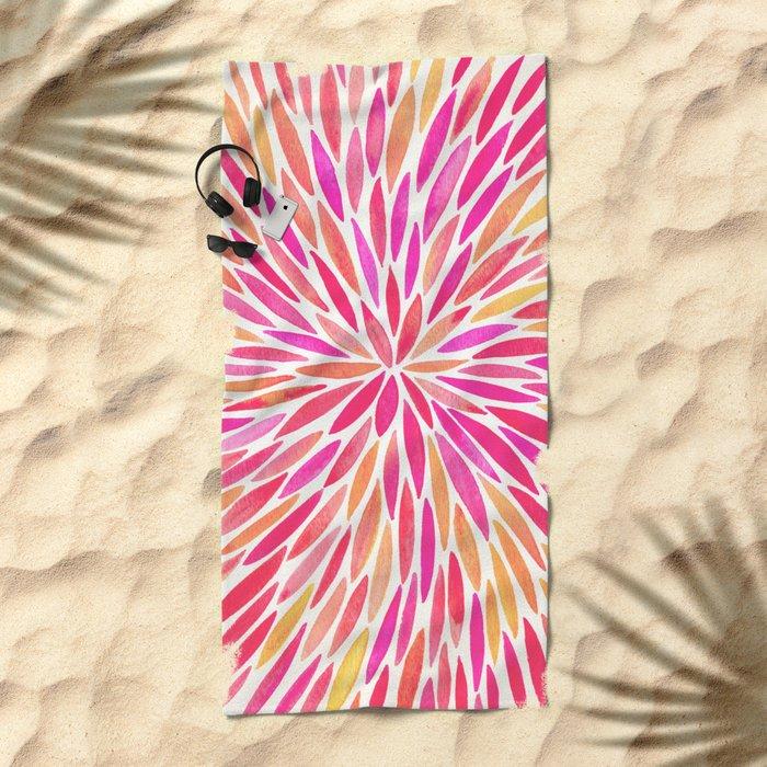 Watercolor Burst – Pink Ombré Beach Towel