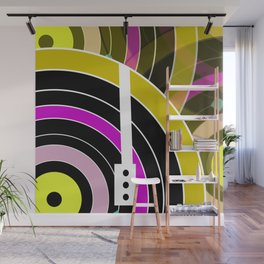 Bright retro records Wall Mural