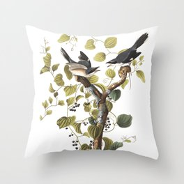 Loggerhead shrike, Birds of America, Audubon Plate 57 Throw Pillow