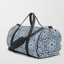 Symmetrical Flower Pattern in Blue Duffle Bag