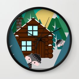 Winter cabin in the woods Wall Clock
