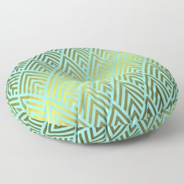 Gold foil triangles on Teal Floor Pillow