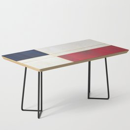 Blue, Red And White With Golden Lines Abstract Painting Coffee Table