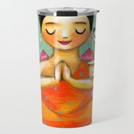 Meditating Yoga Girl with Dog painting ZEN art by Tasc Travel Mug
