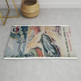 1954 Le Mans poster, Race poster, car poster, programme officiel Rug