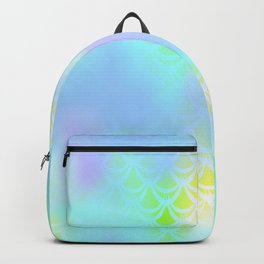 Blue Green and Yellow Mermaid Tail Abstraction. Magic Fish Scale Pattern Backpack