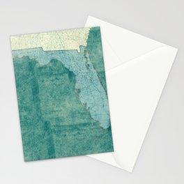 Florida State Map Blue Vintage Stationery Cards