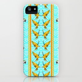 GOLD & BLUE TROPICAL MACAWS VERTICAL ART iPhone Case