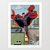 superman Art Prints featuring Superman by Joseph  Griffin Art