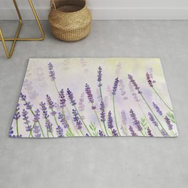 Lavender Flowers Watercolor Rug