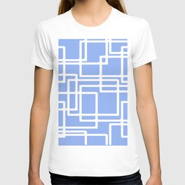 Retro Modern Rectangles On Summer Sky Blue T-shirt