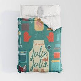 Julie and Julia, minimal movie poster, Meryl Streep, Amy Adams, Nora Ephron film, Julia Child, cook Comforters