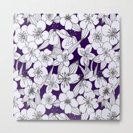 Hand painted modern black white indigo floral pattern Metal Print