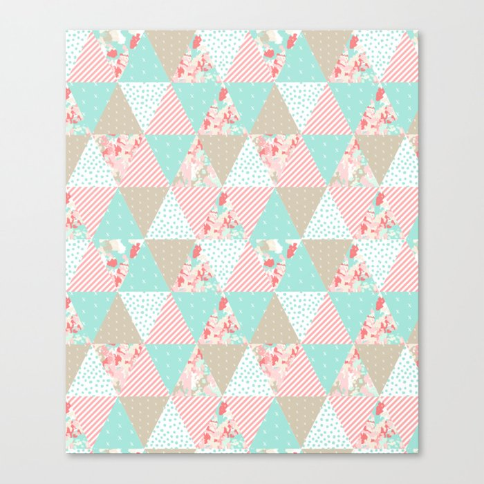 Quilt ender neutral modern quilting pattern triangles handmade gift for new  baby Canvas Print by charlottewinter
