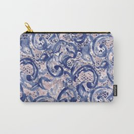 Vinage Lace Watercolor Blue Blush Carry-All Pouch