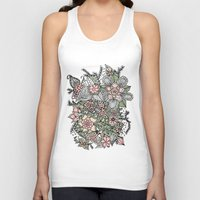 preppy Tank Tops featuring Modern green pink floral handdrawn pattern by Girly Trend