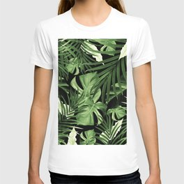 Tropical Jungle Night Leaves Pattern #5 #tropical #decor #art #society6 T-shirt