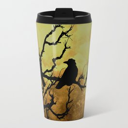 Crows on Branch Against Stormy Sky A522 Travel Mug