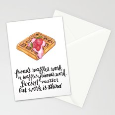 Friends. Waffles. Work. Stationery Cards