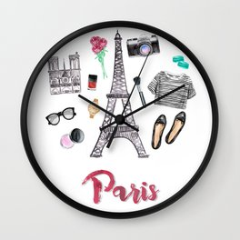 Watercolor Paris Fashion Items - Eiffel Tower Wall Clock