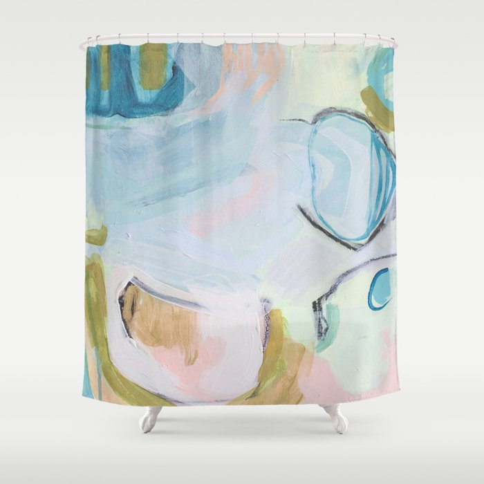 Hands On // Blue original abstract  Shower Curtain