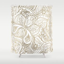 Elegant hand drawn white faux gold luxury floral Shower Curtain