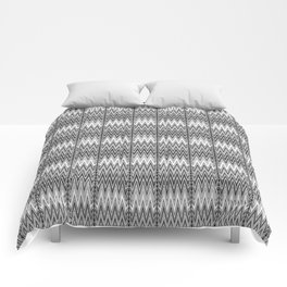 Flame Stitch Pattern, Gray, Black and White Comforters