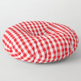 Large Christmas Red and White Gingham Check Plaid Floor Pillow
