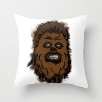 chewbacca Throw Pillows featuring Chewbacca by MuDesignbyMugeBaris