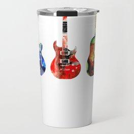 Guitar Threesome - Colorful Guitars By Sharon Cummings Travel Mug