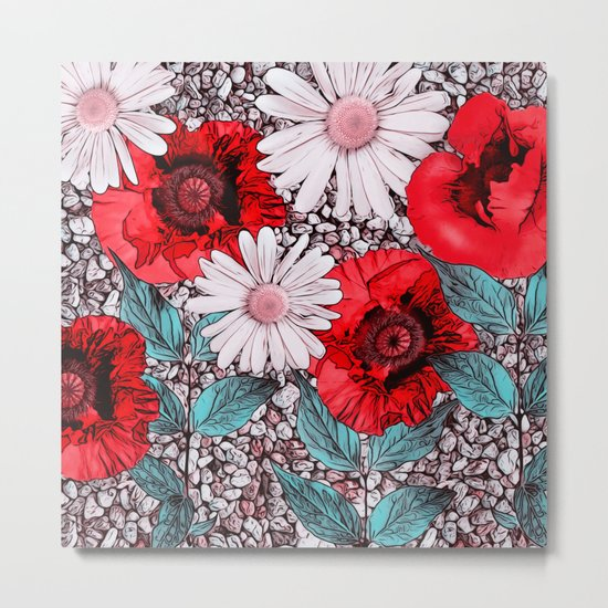 Red Poppies and margarites Metal Print