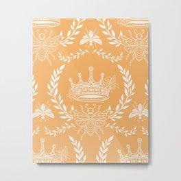 Queen Bee - Royal Crown in Honey Orange Metal Print