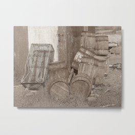 Lobster Traps  & Bait Barrels - Life ! Metal Print