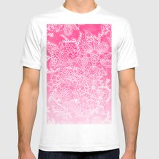 Modern girly floral pattern pink ombre watercolor pattern White MEDIUM Mens Fitted Tee