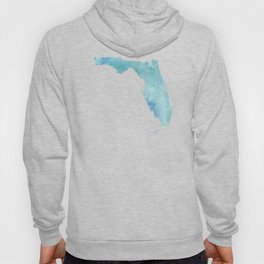 Watercolor State Map - Florida FL blue green Hoody