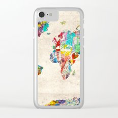world map music art Clear iPhone Case