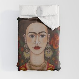Frida with butterflies Duvet Cover