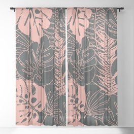 Tropical pattern 034 Sheer Curtain