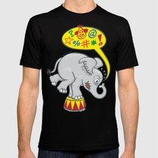 Circus elephant saying bad words Mens Fitted Tee Black MEDIUM