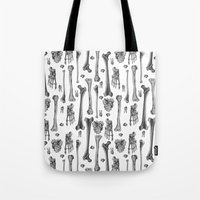 bones Tote Bags featuring Bones by Deborah Panesar Illustration